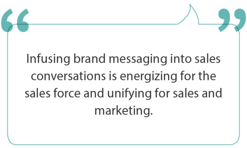 Energizing and arming the sales force with brand messaging